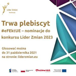 """Wystartowało internetowe głosowanie na mazowieckie projekty w plebiscycie """"#eFEktUE – nominacje do konkursu Lider Zmian 2023""""!"""